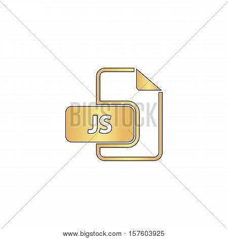 JS Gold vector icon with black contour line. Flat computer symbol