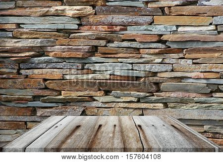 shelves wood top empty and  floor ceiling in stone wall background