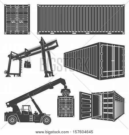 Vector set of isolated silhouette of a container loader, a gantry crane. Transportation logistics shipping containers.