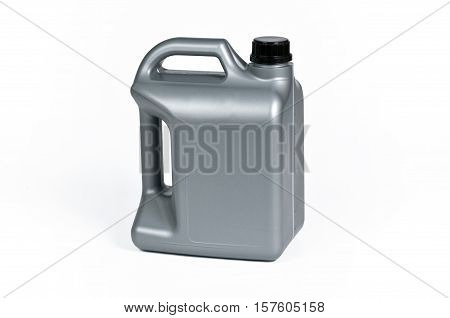 Silver plastic jerrycan with black cap on white background.