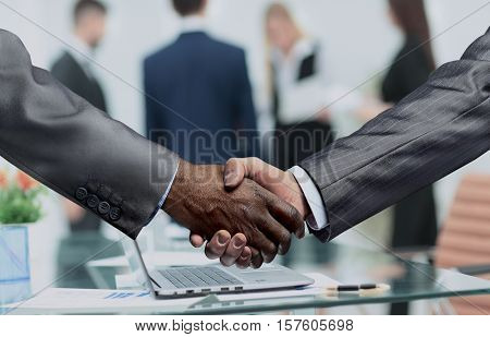 handshake of business partners.a successful and profitable agree
