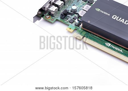 GALATI ROMANIA - NOVEMBER 20 2016: Professional video card from NVIDIA - Nvidia Quadro K1200 from a powerful workstation isolated on white