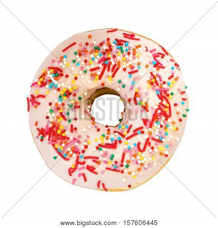 Donut With Colorful Decoration. Top View.