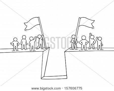 Cartoon working little people near abyss. Doodle cute miniature scene of two teams with flags. Hand drawn vector illustration for business design and infographic.