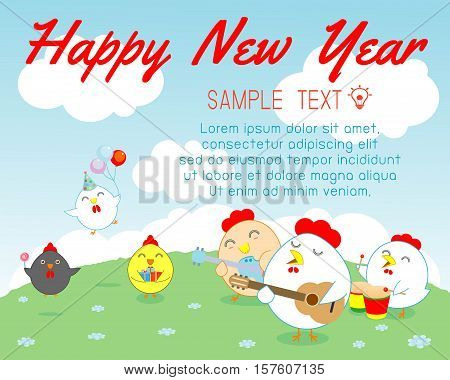 Happy New Year 2017 chicken background, happy cock with Happy new year party 2017, rooster, Colorful Vector Illustration
