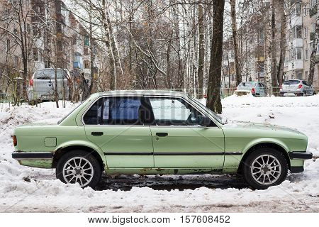 Smolensk, Russia - November 13, 2016: Legendary BMW 3-series parked at the city street.