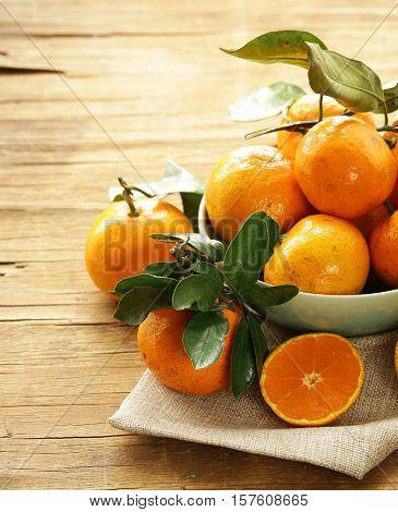 Natural organic tangerine. Ripe orange fruits mandarins.