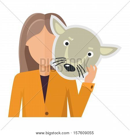 Woman character in jacket with wolf mask in hand vector. Flat design. Masquerade animal clothing and party costume. Psychological portrait and hidden personality. Isolated on white background