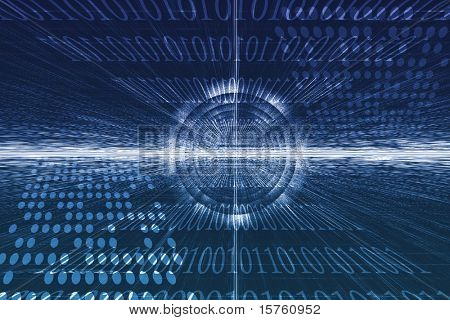 Futuristic Technology Data Flow Color Digital Abstract poster