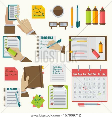 Vector notebooks agenda collection. Schedule organizer calendar agenda planner business notes appointment concept illustration. Isolated on white.