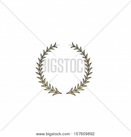 laureate wreath Gold vector icon with black contour line. Flat computer symbol