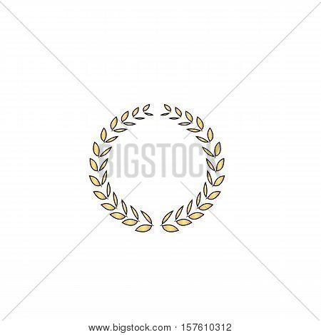 triumph wreath Gold vector icon with black contour line. Flat computer symbol