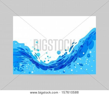 Wave abstract stylized background brochure template blue wave on white background