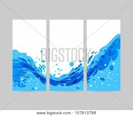 Wave abstract stylized background brochure template blue wave on white background tri-fold water