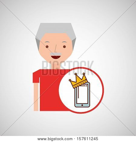 old man fathers day gift smartphone vector illustration eps 10