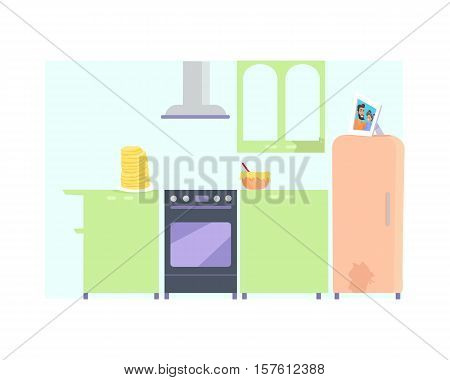 Kitchen interior with furniture in flat. Kitchen with oven, refrigerator, cooker hood, table, food. Stack of pancakes on the table. Isolated vector illustration on white background