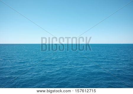 infinite blue sea in a ship - island