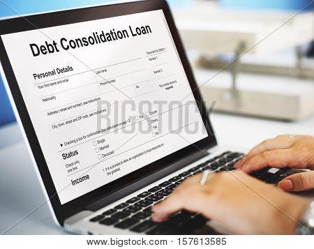 Debt Consolidation Loan Financial Concept