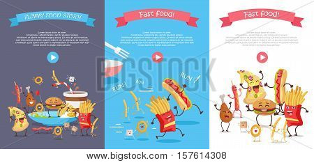Set of fast food web banners. Funny cartoon characters. Vertical flat illustrations with traditional junk food and play button for restaurant online services, video presentation, corporate animation