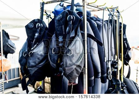 Scuba Diving Gear Ona A Stand In Diving Center.