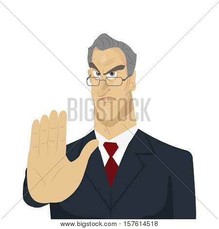 Angry boss and hand stop signal. Lateness concept. Creative office background. Flat style design vector illustration.