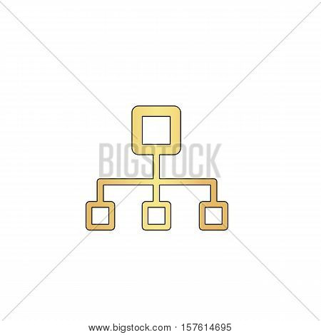 flow chart Gold vector icon with black contour line. Flat computer symbol