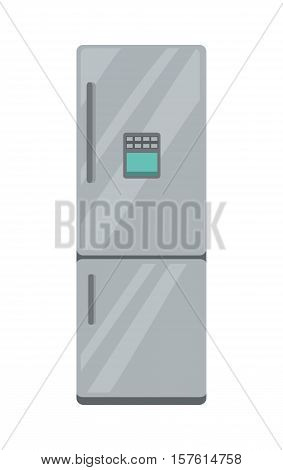Refrigerator electronic device isolated on white. Household appliances freezer. Fridge home appliances in flat style. Icebox, magnet fridge door, sale fridge. Cooling device for products. Vector