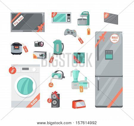 Sale and discount household appliances in flat style. Household appliances and devices with percent discount stickers. Black friday. Illustration for electronics stores advertising. Vector