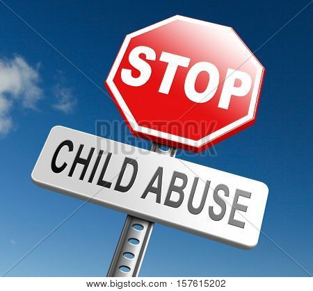 stop child abuse prevention from domestic violence and neglection end abusing children 3D, illustration
