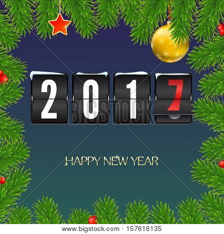 Christmas card with coming 2017 year. Golden Christmas balls, red star with green fir branches and scoreboard, inscription Happy New Year. Vector illustration, template for greeting cards