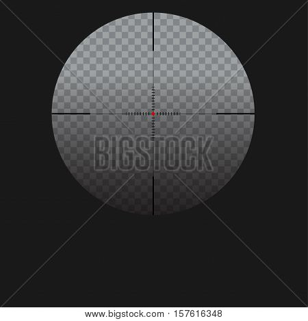 Isolated vector illustration with sniper sight, target for shooting icon on transparent background, cross-hair with red dot.