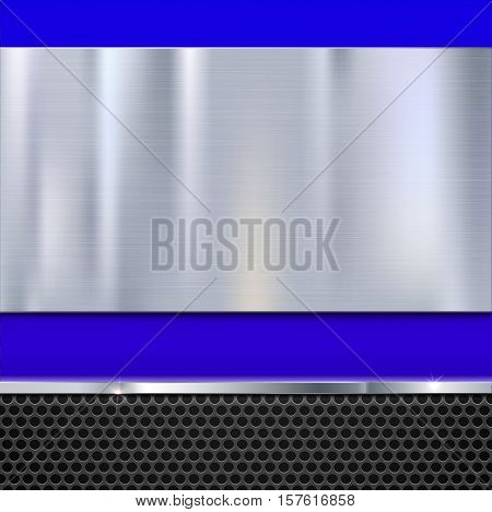 Shiny brushed metal plate with screws. Stainless steel banner on blue polished background with metal strip and black mesh, vector illustration for you