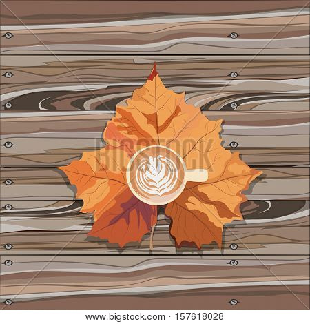 Hot steaming cup of coffee and autumn leaf on wooden table. Seasonal, still life and morning coffee concept. Vector illustration.