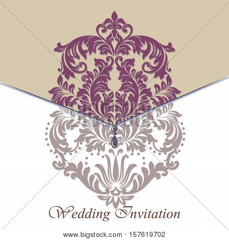 Baroque Vintage floral damask Invitation card. Vector lavender color background. Luxury Classic Damask ornament. Royal Victorian texture for wallpapers, textile, fabric