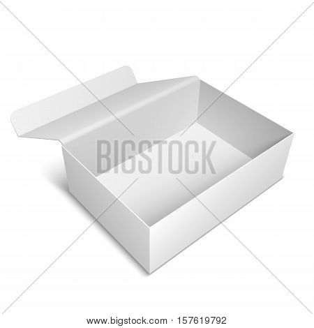 Opened white package box template or mock-up on white background