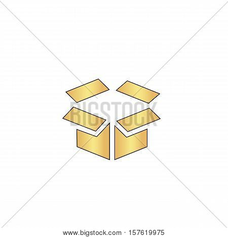Open box Gold vector icon with black contour line. Flat computer symbol