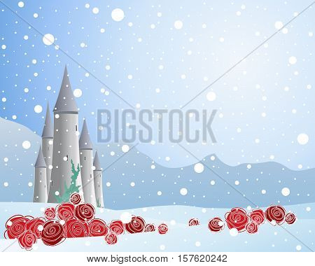an illustration of red roses in a snowy scene with a fairy tale castle and mountains on an icy blue background in a greeting card format