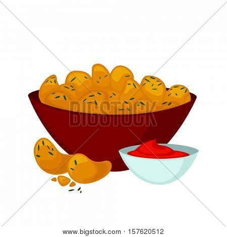 Fried chicken nuggets in breaded with sauce. Tasty meal in restaurant of fast food cartoon style. Unhealthy nutrition. Vector illustration of isolated on white background.
