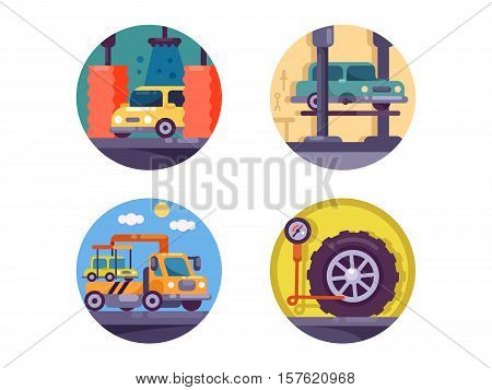 Car service garage. Washing, tow truck and wheel pumping. Vector illustration