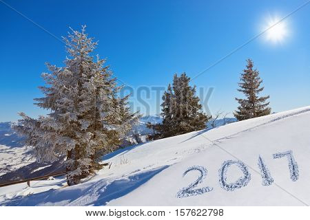 2017 on snow at mountains - St. Gilgen Austria - nature and sport background