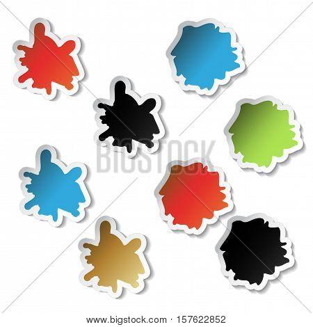 Vector splotch stickers on white background - illustration