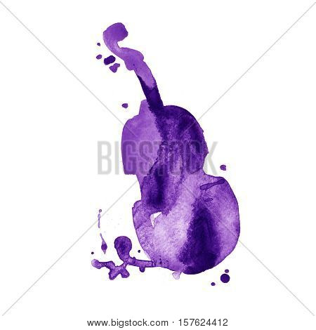 hand drawn classical stringed music instrument. Watercolor contrabass.