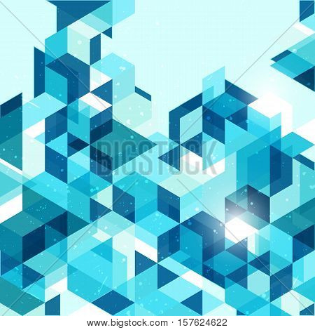 Geometric abstract background in blue with place for text. EPS 10 vector illustration. RGB.