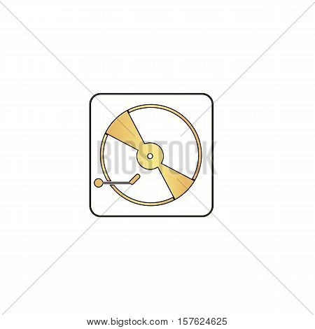 Vinyl turntable Gold vector icon with black contour line. Flat computer symbol