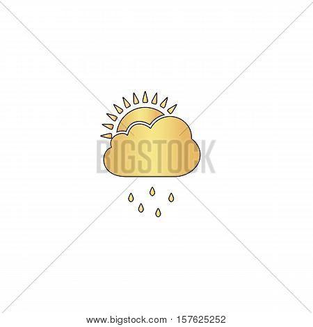 raindrops Gold vector icon with black contour line. Flat computer symbol
