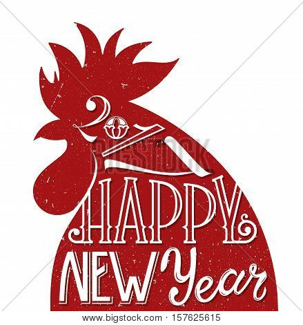 Red rooster, symbol of 2017. Greeting card for New Year design. EPS10 vector illustration with original hand drawn letters.