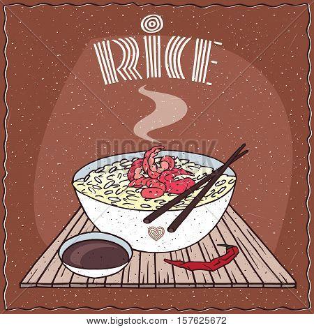 Asian Rice Dal Bhat Or Nasi Kandar With Shrimp