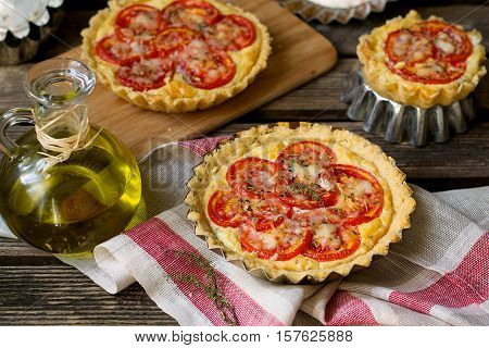 French savoury pie quiche with cottage cheese herbs and tomatoes