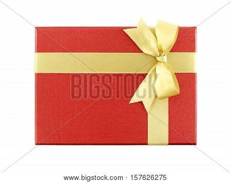 red gift box with golden ribbon bow isolated on white background, top view