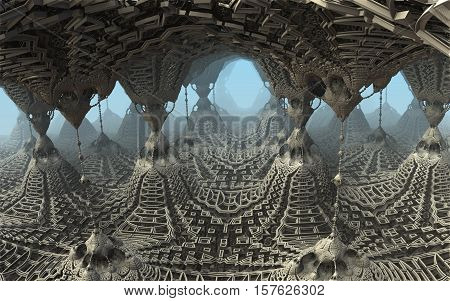 3D illustration of virtual scene with fictive ancient architecture